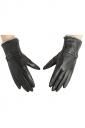 Womens Winter Warm Short Plush Trim Leather Gloves Black