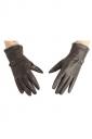 Womens Winter Warm Short Plush Trim Leather Gloves Brown