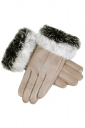 Womens Cony Hair Lined Warm Leather Gloves Khaki