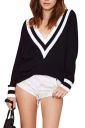 Girls Casual Plus Size V Neck Preppy Chic Knitted Sweater Black