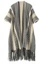 Womens Geometry Printed Tassel Cape Knitted Sweater Coat Black