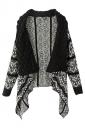 Womens Retro Turndown Collar Geometry Cardigan Sweater Coat Black