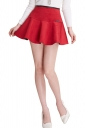 Womens A Line Back Zipper Pleated Skirt Red