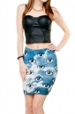 Womens 3D Clouds Eyes Printed Straight Bodycon Mini Skirt Blue
