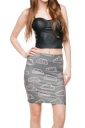 Womens Cloud Printed Straight Bodycon Mini Skirt Gray