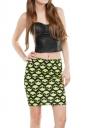 Womens Alien Printed Straight Bodycon Mini Skirt Yellow