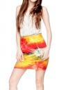 Womens 3D Digital Printed Straight Bodycon Mini Skirt Red