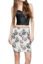 Womens Cats Printed Straight Bodycon Mini Skirt Beige