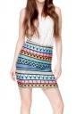Womens Aztec Printed Bodycon Mini Skirt Blue