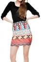 Womens Aztec Print Tight Pencil Mini Skirt Red