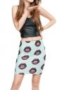 Womens Lips Printed Pencil Bodycon Mini Skirt Blue