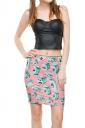 Womens Druk Printed Pencil Bodycon Mini Skirt Pink