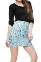 Womens Water-drop Printed Pencil Bodycon Mini Skirt Blue