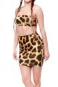 Womens Leopard Printed Pencil Bodycon Mini Skirt Brown