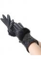 Womens Elegant Rabbit Hair Warm Winter Leather Gloves Black
