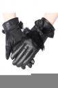 Womens Lined Rabbit Hair Bow Winter Gloves Black