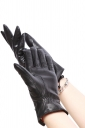 Womens Chic Lined Bow Warm Winter Gloves Black