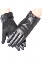 Womens Chic Thick Bow Winter Leather Gloves Black