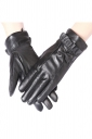 Womens Chic Thick Bow Ruffled Winter Gloves Black
