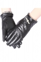 Womens Pretty Lined Bow Winter Leather Gloves Black