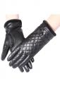Womens Pretty Lined Plaid Winter Gloves Black