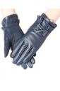 Womens Pretty Lined Bow Winter Gloves Blue