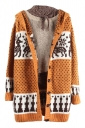 Womens Reindeer Patterned Hooded Cardigan Sweater Coat Yellow