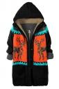 Womens Lined Reindeer Hooded Sweater Coat Black