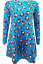 Womens Carton Penguin Crewneck Long Sleeve Print Christmas Dress Blue
