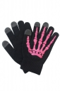 Womens Hand Skeleton Pattern Touch Screen Gloves Rose Red
