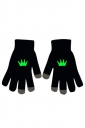 Womens Chic Noctilucent Crown Full Finger Touch Screen Gloves Black