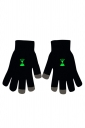 Womens Noctilucent Hourglass Full Finger Touch Screen Gloves Black