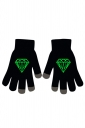Womens Chic Noctilucent Diamond Full Finger Touch Screen Gloves Black