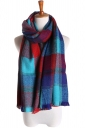 Womens Double Side Plaid Thick Warm Cashmere Shawl Scarf Turquoise