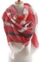 Womens Warm Colorful Plaid Pattern Cashmere Shawl Scarf Red