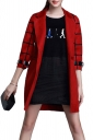 Womens Classic Turndown Collar Plaid Printing Trench Coat Red