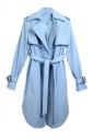 Womens Fashion Casual Lapel Long Trench Coat Blue
