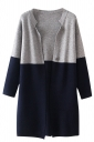 Womens Stand Collar Long Sleeve Color Block Cardigan Navy Blue