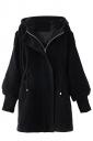 Womens Plain Trumpet Sleeve Hooded Drawstring Waist Woolen Coat Black