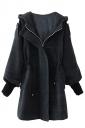 Womens Plain Trumpet Sleeve Hooded Drawstring Woolen Coat Dark Gray