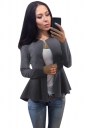 Womens Plain Round Collar Long Sleeve Asymmetrical Jacket Gray