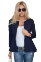 Womens Plain Round Collar Long Sleeve Asymmetrical Jacket Navy Blue