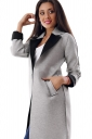 Womens Turndown Collar Long Sleeve Patchwork Woolen Coat Black