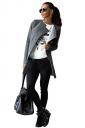 Womens Plain Long Sleeve Collarless Medium-long Woolen Coat Gray