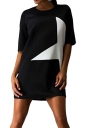 Womens Crewneck Half Sleeve Five-pointed Star Print Shift Dress Black