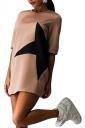 Womens Crewneck Half Sleeve Five-pointed Star Print Shift Dress Khaki