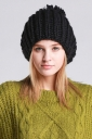 Womens Plain Pom Pom Embellished Thick Warm Cable Knit Hat Black