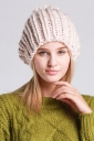 Womens Plain Pom Pom Embellished Thick Warm Cable Knit Hat Beige White