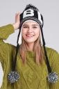 Womens Print Pom Pom Embellished Thick Lined Warm Knit Hat Black