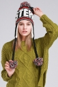 Womens Print Pom Pom Embellished Thick Lined Warm Knit Hat Ruby